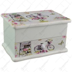 Cutie pentru bijuterii in forma de dulapior - Design vintage cu trandafiri si bicicleta (Model 5)