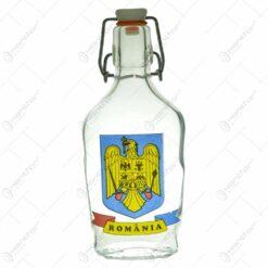 Plosca inalta din sticla cu grafica - Stema Romaniei - Romania