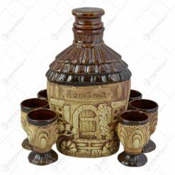Set pentru vin realizat din ceramica - Design Traditional (Model 1)