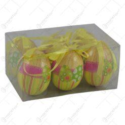Set 6 oua decorative cu agatatoare pentru Pasti - Design cu dungi si dantela (Model 1)