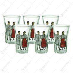 Set 6 pahare din sticla pentru aperitive - Design port popular romanesc