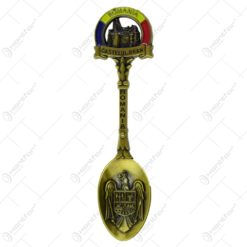 Lingura decorativa realizata din metal - Design cu stema Romaniei si Castelul Bran - 2 modele