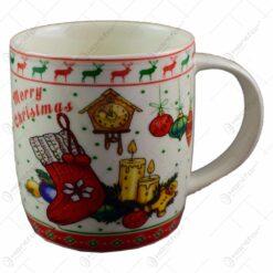 """Cana de craciun realizata din ceramica - Design Craciun si inscriptia """"Merry Christmas"""""""