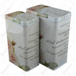 Set 2 cutii metalice pentru condimente
