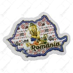 Magnet pentru frigider in forma de harta realizat din carton - Design traditional Romania - Diverse modele (Model 1)