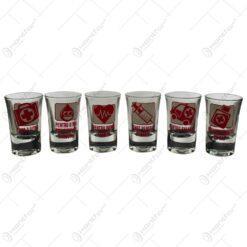 Set 6 pahare tip shot realizate din sticla - Design cu diverse mesaje pentru medici si asistenti (Model 1)