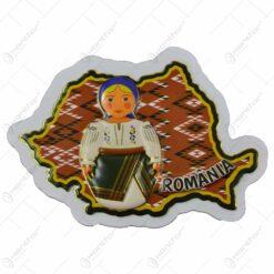 Magnet pentru frigider in forma de harta realizat din carton - Design traditional Romania - Diverse modele (Model 2)
