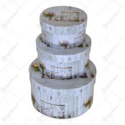 Set 3 cutii rotunde pentru cadouri/depozitare - Diverse modele