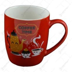 Cana realizata din ceramica - Design Coffee - Rosu - Diferite modele (Tip 3)