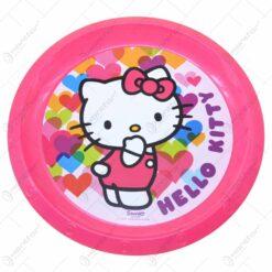 Farfurie intinsa realizata din material plastic - 21 cm - Design Hello Kitty