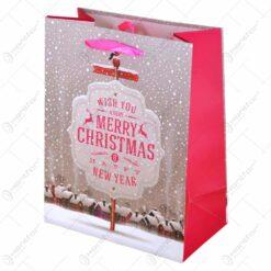 Punga cadou - Design Merry Christmas &Happy New Year - Mediu