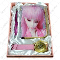 Set cadou 3 accesorii dama - Portofel/Pix/Ceas
