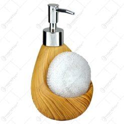 Dispenser realizata din ceramica cu suport si burete - Design Lemn