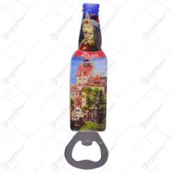 Magnet pentru frigider realizat din rasina cu desfacator de sticle - Design Castelul Bran - 2 modele