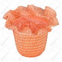 Ghiveci realizat din plastic cu captuseala - Portocaliu (Model 2)
