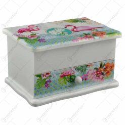 Cutie pentru bijuterii cu sertar si oglinda realizata din lemn - Design Flamingo