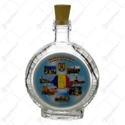 Plosca din sticla cu grafica - cu orase din Romania si harta Romaniei