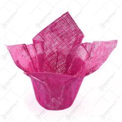 Decoratiune pentru ghiveci de flori realizat din iuta - Rosu