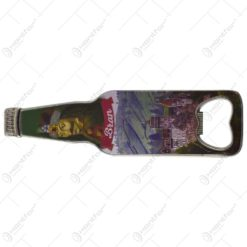 Magnet pentru frigider realizat din metal cu desfacator de sticle - Design Castelul Bran (Model 2)