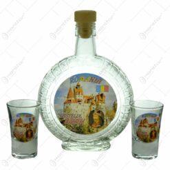 Set 2 pahare de tuica cu sticla. decorate cu grafica - Dracula - Castelul Bran