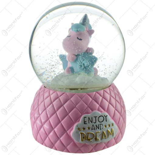 "Glob decorativ cu unicorn - Design cu mesajul ""Enjoy and dream"" - 2 modele"
