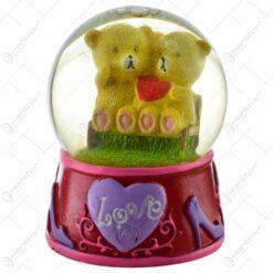 """Glob decorativ cu ursulet - Design cu inscriptia """"Love"""" - 2 modele"""