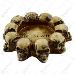 Scrumiera ipsos in forma rotunda cu cranii pe margine - Bran