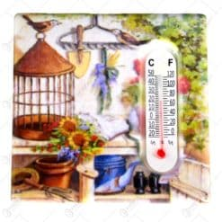 Magnet de frigider cu termometru realizat din ceramica - Design Flowers - Diferite modele (Tip 1)