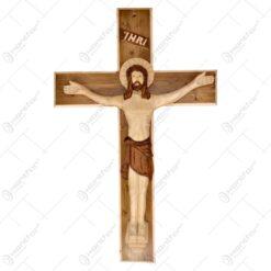 Cruce din lemn si ipsos - Crucifix cu Isus rastignit 70x46 CM