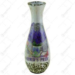 Vaza ceramica decorata cu suport si ghivece cu flori - Lavanda Casuta (Model 5)