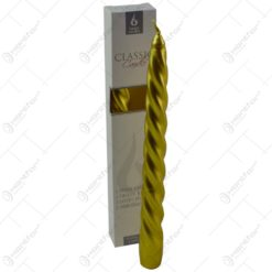 Set 2 lumanari realizate in forma clasica - Design Spiralat - Auriu matalizat (12 x 222 MM)