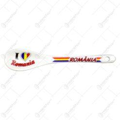 Lingura decor ceramica cu grafica. dunga tricolor - Romania - Vlad Tepes/I love Romania - Mica