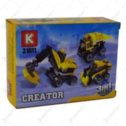 Set jucarie constructii realizat din plastic - 2 modele (Masina de curse / Excavator)