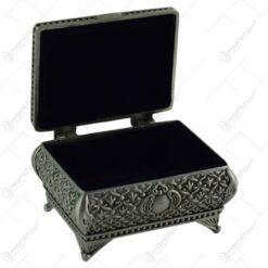 Cutie metalica pentru bijuterii - Design antic cu flori (Model 3)