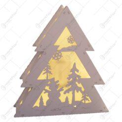 Decoratiune pentru craciun realizata din lemn si dotata cu LED - Design Brad