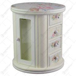 Cutie rotunda pentru bijuterii cu oglinda si multiple sertare - Design cu trandafiri