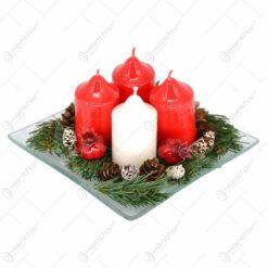 Platou cu decoratiune pentru Postul Craciunului (Advent) in diferite modele - Mediu