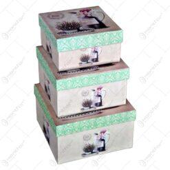 Set 3 cutii pentru cadouri in forma dreptunghiulara - Diverse culori (Model 2)