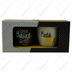 "Set 2 cani Barrel din ceramica in cutie decorativa - Design ""Baiat""/""Fata"""