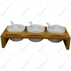 Set 3 recipiente pentru condimente cu capac si lingura cu suport realizat din bambus