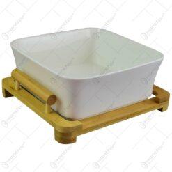 Bol pentru servire realizat din portelan cu suport din bambus (Model 2)