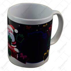 Cana de craciun termosensibila realizata din ceramica - Design cu Mos Craciun si cadouri