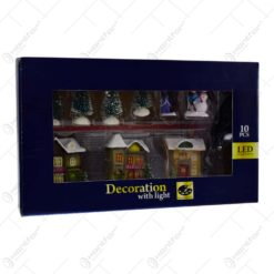 Set 10 decoratiuni cu led pentru Craciun - Casute. brazi si figurine
