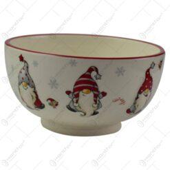 Bol pentru servire realizat din ceramica - Design Craciun cu spiridusi