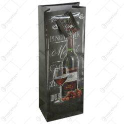 Punga cadou pentru bauturi - Design cu struguri si sticla de vin (Model 2)