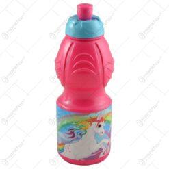Plosca pentru copii realizata din plastic - 400 ml - Design Mickey Mouse/Unicorn