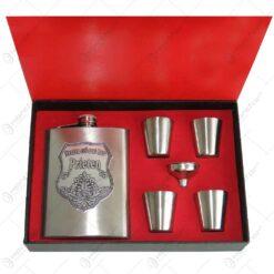 Set plosca cu palnie si 4 pahare din inox is cutie eleganta cu captuseala. cu decor embosat - Pentru cel mai bun Prieten