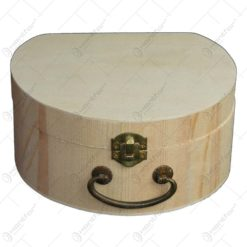 Cutie pentru bijuterii realizata din lemn - Cu maner si cu incuietoare - Hobby
