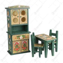 Set mobilier de bucatarie 4 piese realizate din lemn - Design traditional pictat