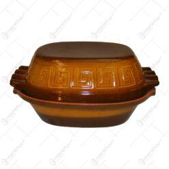 Vas roman din lut glazurat in forma ovala - 32 cm